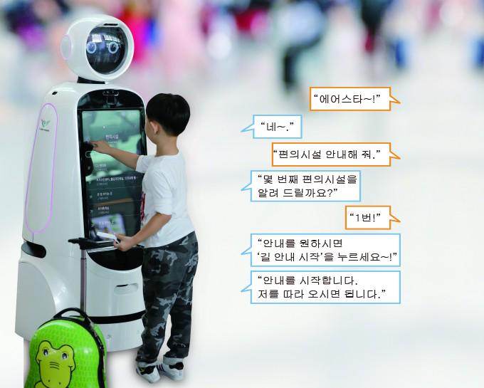 캐리어를 끈 어린이가 에어스타를 이용하고 있다 - 인천국제공항공사 제공