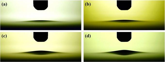 국가핵융합연구소 연구진이 플라스마 처리수의 생성 원리를 규명했다. 플라스마 처리에 따라 물의 표면장력이 바뀌는 것을 나타낸 사진. 사이언티픽 리포트 제공.