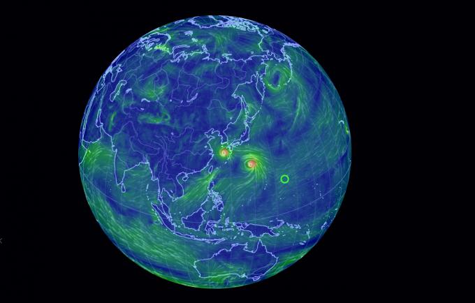 중형급 태풍 '솔릭'이 한반도를 관통하는 모습. 중형급 태풍 '솔릭'은이동속도가 유달리 느려진 한반도 지역에서 태풍이 다른 지역보다 상대적으로 더 자주, 더 오래 머무를 것으로 예상된다 -2018. 8.22 어스널 스쿨 실시간 태풍 예상 진행 상황 캡쳐