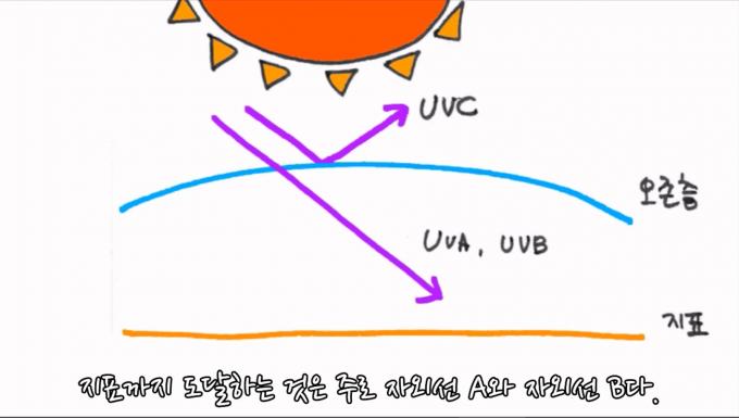 파장이 가장 짧은 자외선 C는 오존층에서 대부분 걸러지고,  지표까지 도달하는 것은 주로 자외선 A와 자외선 B다. - 과학 읽어주는 언니 제공