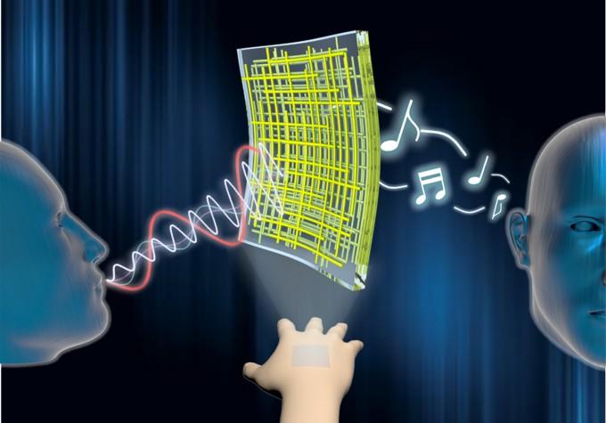 이번에 개발한 투명 전도성 나노막을 이용하면 접착 가능한 투명 스피커와 음성 인식 가능한 마이크를 만들 수 있다. - 사진 제공 UNIST