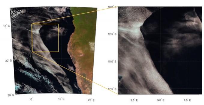 2014년 5월 26일 오후 1시 45분, 아프리카 남서부 연안을 뒤덮은 거대한 구름이 일제히 걷히는 모습을 위성으로 포착했다. 오른쪽 사진은 일부를 확대한 모습이다. - Sandra Yuter 제공