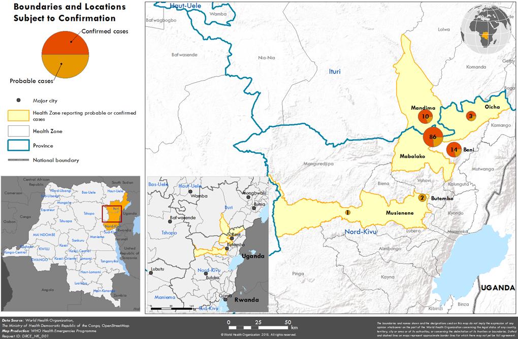 콩고민주공화국에서 발생한 에볼라 바이러스 확산 현황.