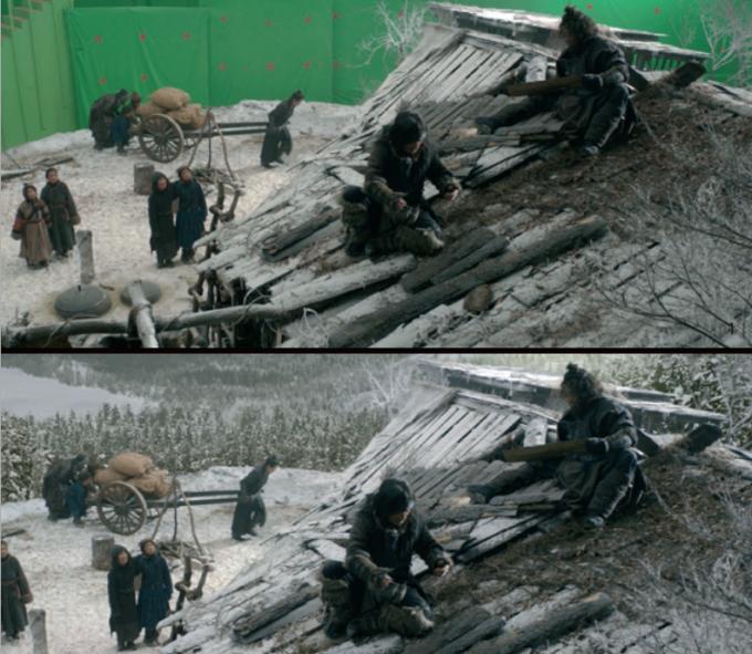 CG 작업을 통해 영화 속 배경을 입히기 전(1) 과 후(2). 눈 덮인 산을 표현하는 데 필요한 눈과 나무 등을 스캐터링 툴인 젠브(ZENV)를 이용해 제작했다.