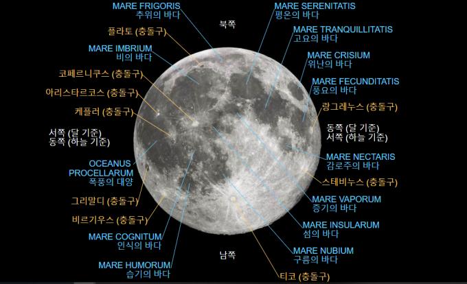 지구에서 보이는 달의 밝은 면(near side) 지도 - 위키미디어 제공