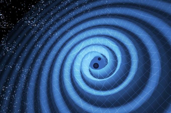 지구에서 10억 광년 이상 떨어져 있는 블랙홀 2개가 서로 합병되는 과정에서 일어난 충돌로 태양 질량의 3배에 이르는 중력 에너지를 방출하면서 시공간의 뒤틀림과 함께 중력파가 발생한 예. - 노벨위원회 제공