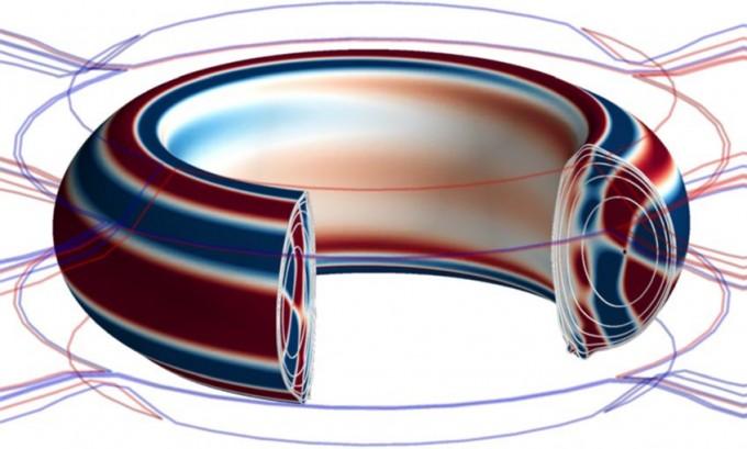KSTAR 내 플라스마 움직임을 나타낸 3차원 그림. 붉은색은 양(+)의 전류, 푸른색은 음(-)의 전류를 띤 플라스마를 나타낸다. - 사진 제공 네이처 피직스