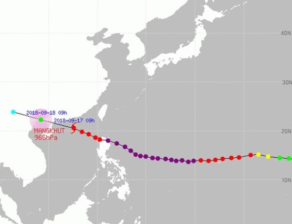 필리핀을 강타한 제 22호 태풍 망쿳의 이동경로로, 현제 필리핀을지나 중국남부쪽으로 이동하고 있다-기상청 제공