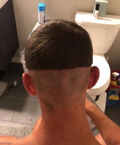 여친이 깎아준 머리