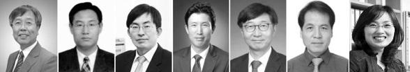 왼쪽부터 유룡, 선양국, 윤주영, 조재필, 박남규, 석상일, 김빛내리 교수