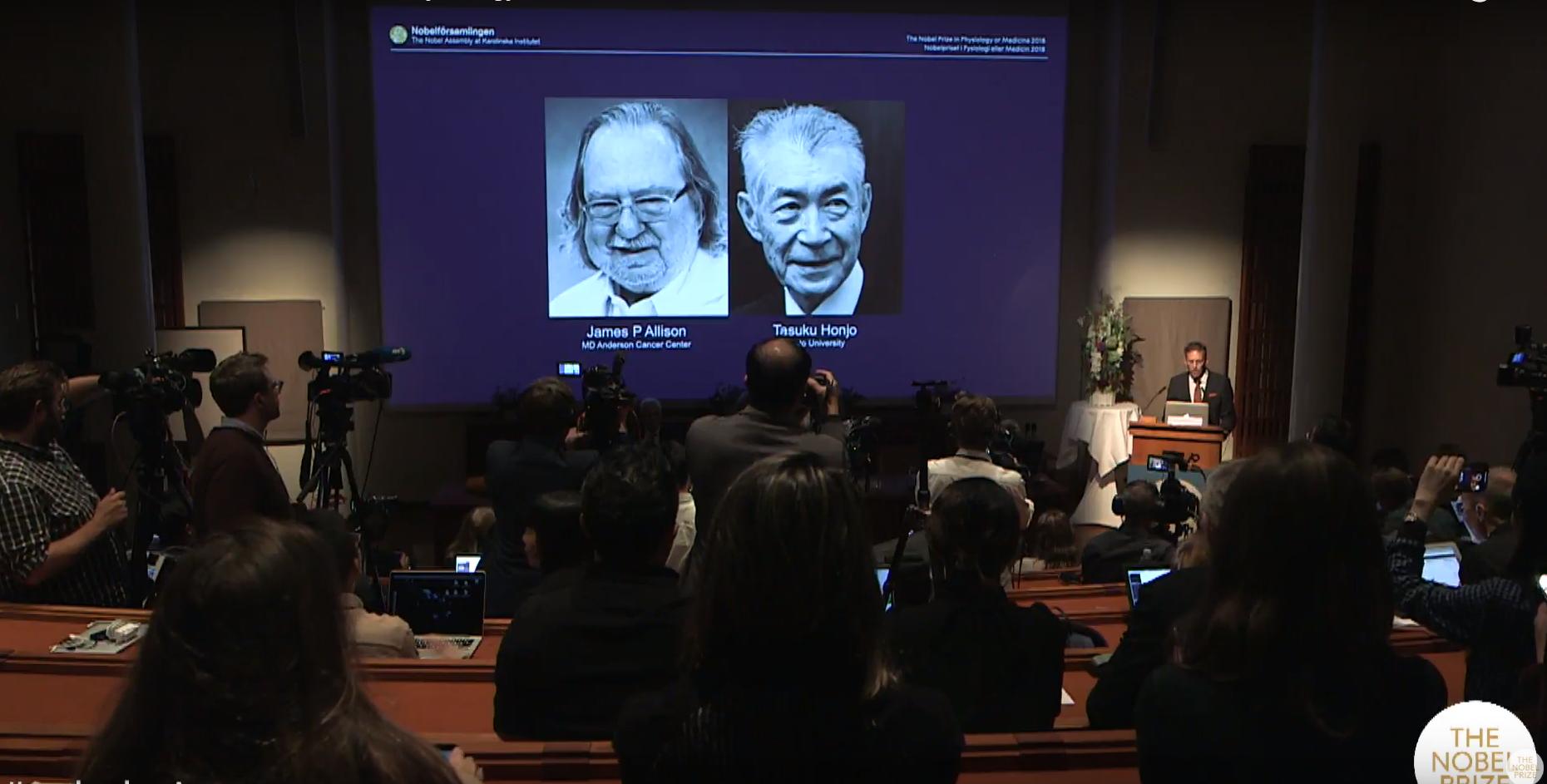 노벨생리의학상에 면역치료 전문가 제임스 앨리슨·혼조 다스쿠 수상(2보)