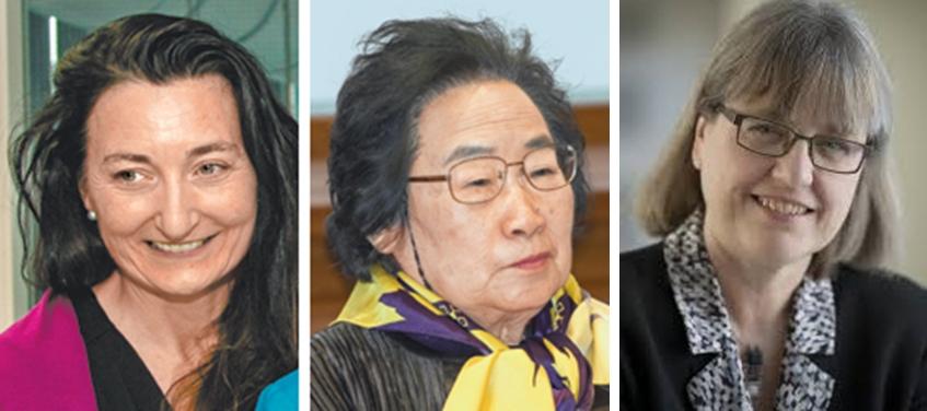 지난해까지 과학 분야 노벨상 수상 599건 가운데 여성이 받은 횟수는 18건에 불과해 3%를 갓 넘는다. 2014년 노벨 생리의학상 수상자 마이브리트 모세르 노르웨이과학기술대 교수(왼쪽)와 2015년 노벨 생리의학상 수상자인 투유유 중국 중의과학원 교수, 2018 노벨물리학 수상자인 도나 스트릭랜드 캐나다 워털루대 물리 천문학부 교수.