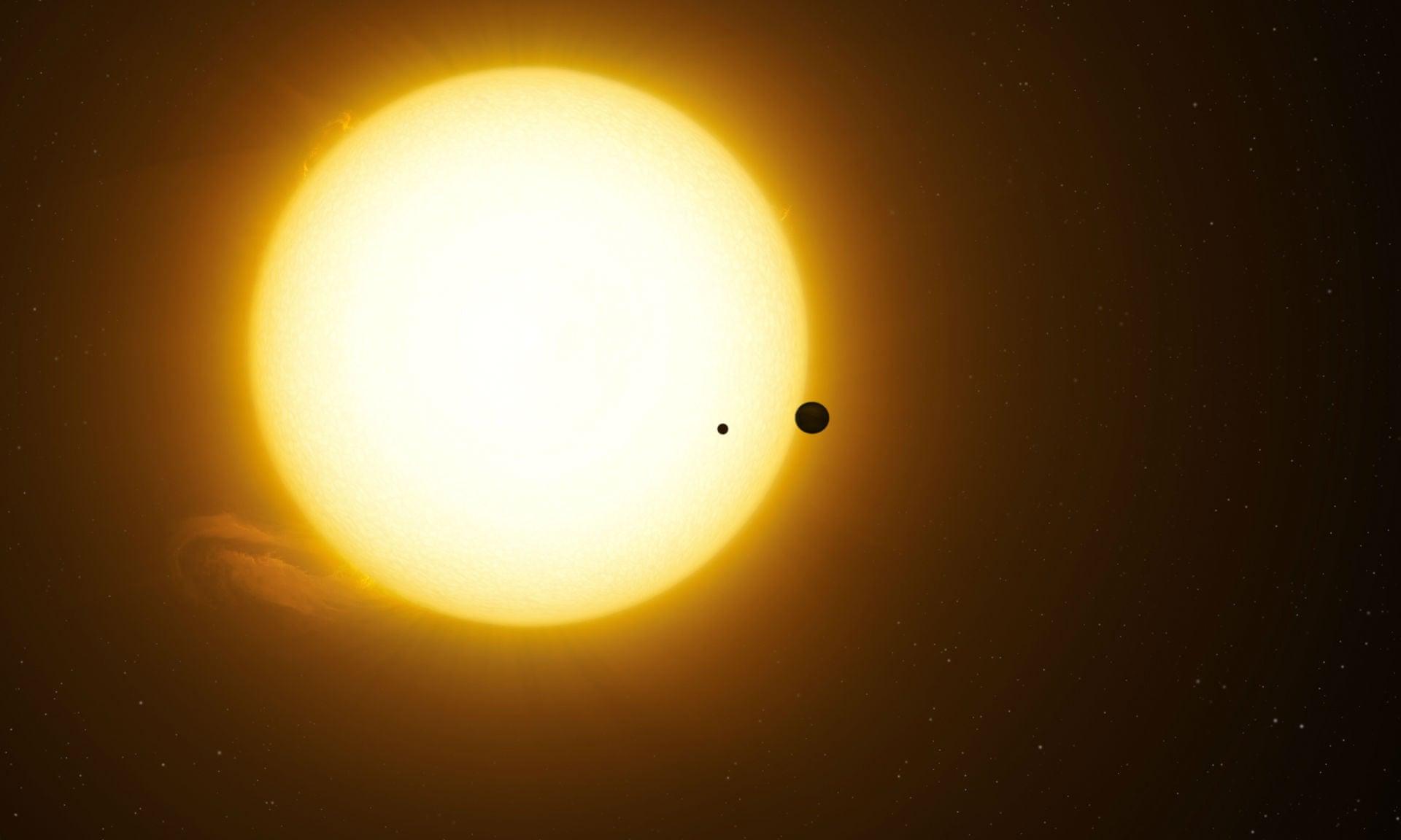 가스행성 케플러-1625b와 주위를 도는 위성으로 추정되는 케플러-1625b-i