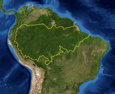 남아메리카 대륙의 위치한 열대우림, 아마존 숲의 범위. 미국 항공우주국 제공