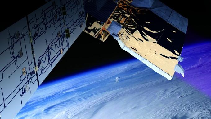 지난 8월 ESA가 쏘아 올린 바람 관측  위성 아이올로스의 상상도. 아이올로스는  레이저를 이용해 지구의 바람을 측정한다. - ESA/ATG medialab 제공