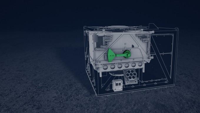 마스코트의 구조. 프른 부분이 스윙암으로 기기를 튀어오르게 해 이동하거나 자세를 고치게 한다. -사진 제공 DLR