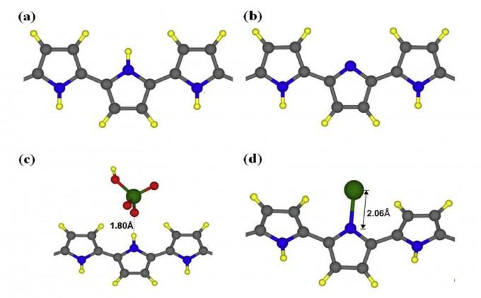 연구팀이 이용한 폴리피롤의 구조(a). 검은색이 탄소고 파란색이 질소, 노란색이 수소다. 폴리피롤이 6가 크롬을 만나면 수소를 잃고(산화, b), 이어 6가 크롬을 해가 덜한 3가 크롬으로 변환시킨 뒤 질소와의 공유결합을 통해 제거한다(d). 또 폴리피롤이 직접 6가 크롬 화합물과 수소결합을 해 흡착되기도 한다(c). - 사진 제공 Water Research