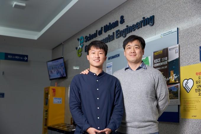 학부생 때 떠올린 아이디어를 발전시켜 친환경 건설재료 기술을 기업에 이전한 전동호 UNIST 도시환경공학부 연구원(왼쪽)과 지도교수 오재은 교수.