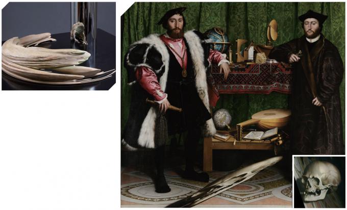 한스 홀바인의 <대사들>. 그림의 바닥 부분을 비스듬한 각도에서 보면 해골이 드러난다. - Richard lvey(W), Google Cultural Institute, Thomas Shahan(W) 제공