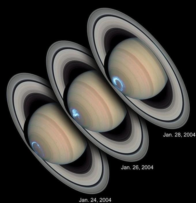 허블우주망원경으로 찍은 토성의 오로라. -사진제공 NASA