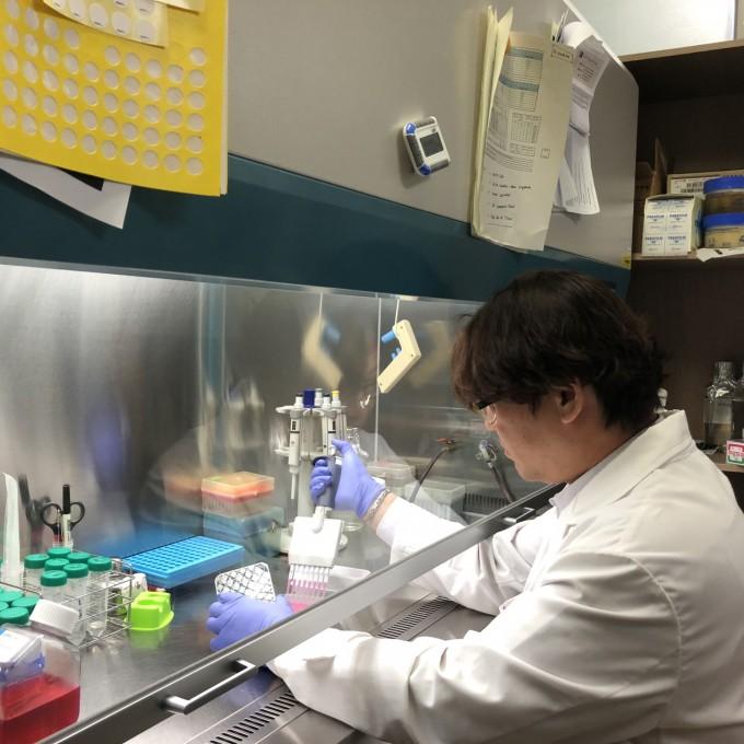 연구원이 천연 잔디추출물로 당뇨 치료 효과 실험을 진행하고 있다. 한국원자력연구원 제공.