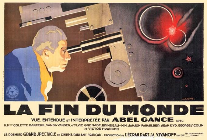 프랑스 영화감독 아벨 강스의 1931년작인 '세상의 끝(La fin du monde)'의 포스터. 노벨상 수상 과학자가 처음 등장한 영화다. - 위키미디어 제공
