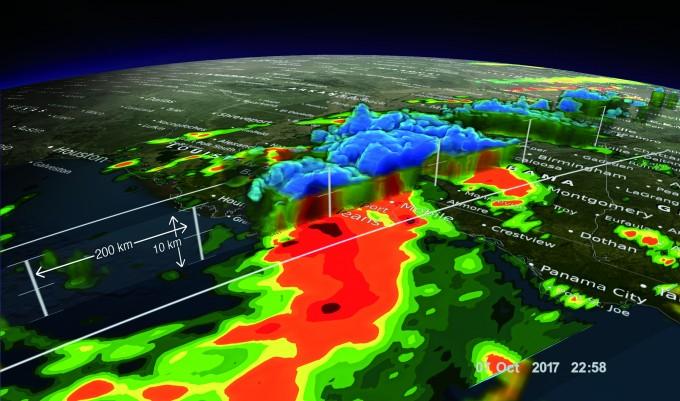 GPM 위성이 2017년 10월에 분석한 태풍 네이트의 입체  모형. 파란색 부분은 태풍의 비구름이며, 붉은색 부분은  폭우 확률이 높은 곳이다. - NASA's Scientific Visualization Studio 제공