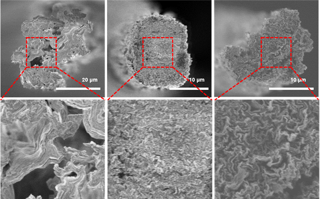 일반적인 그래핀 섬유의 단면(왼쪽)과, 도파민을 이용해 두단계로 결함을 줄인 그래핀 섬유의 단면 전자현미경 사진(가운데, 오른쪽). - 사진 제공 KAIST