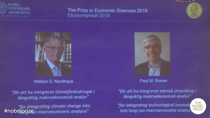 올해 노벨 경제학상 수상자는 경제학과 혁신, 기후변화를 결합시킨 두 수학자이자 경제학자에게 돌아갔다. - 사진 제공 노벨상 발표장면 갈무리