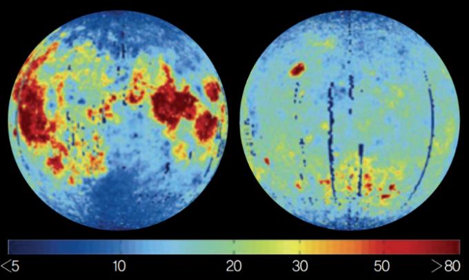 달에 매장된 헬륨-3의 지도. 붉은색에 가까울수록  매장량이 많다. - Chinese Science Bulletin 제공