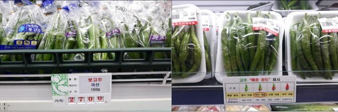 풋고추 판매대 표기방법. 기존 표기방법(왼쪽)과 새롭게 매운맛 표기를 추가한 방법(오른쪽). 농림축산식품부 제공