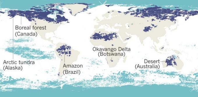 진한 남색은 육지에 남아있는 야생 구역으로 전체의 23% 수준이다. 또 하늘색으로 표시된 바다만이 인간의 영향을 받지 않는 것으로 확인됐다. 전체 바다의 87%(하얀 색)는 모두 인간에 의해 활용되고 있는 것으로 나타났다.-네이처 제공