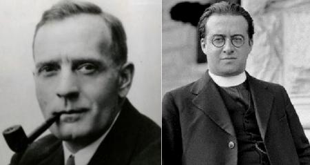 에드윈 허블(왼쪽)과 조르주 르메트레-위키백과 제공