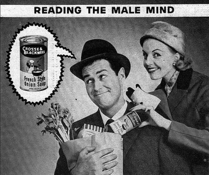 1959년 한 식료품 광고. 프랑스식 양파 수프를 좋아하는 남자의 마음을 읽으라는 광고. 남편의 귀가 시간을 당기는 방법이 바로 통조림을 사는 것이라고 하고 있다. 아마 이런 광고를 낸 광고주의 의도를 읽을 수 있을 것이다. 즉 양파 수프를 좋아하는 남편의 마음을, 읽고 있는 남편의 이른 귀가를 바라는 주부의 마음을, 읽고 있는 광고주의 통조림을 더 팔고 싶은 마음을, 간파한 본 칼럼 독자의 마음을, 지금 읽고 있는 것이다. - 플리커 제공