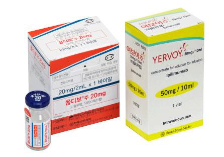 PD-1 항체 치료제 '옵디보'(왼쪽)와 CTLA-4 항체 치료제 '여보이'(오른쪽). 국내에서는 각각 2016년, 2014년 식품의약품안전처의 사용 허가를 받았다. 한국오노약품공업·BMS 제공