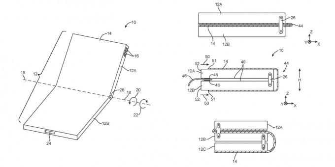 애플의 폴더블폰 특허 자료. 미국 특허청