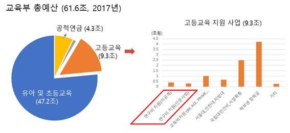 그림  2017년 교육부 총예산과 고등교육지원사업 내역. -사진 제공 강세종 교수