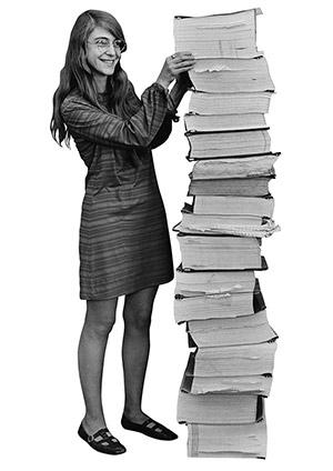 1969년, 마거릿 해밀턴이 자신의 팀과 함께 만든 컴퓨터 프로그램 코드 옆에 서 있다. 1960년대 말에는 프로그램을  만들 때 코드를 컴퓨터에 입력하는 것이 아니라 직접 손으로 써야 했다. - Draper Laboratory(W) 제공