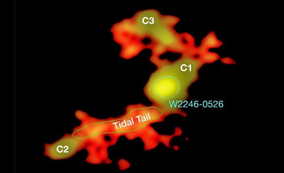 주위 의 은하 들 (C1, C2, C3) 에서 나다 물질 이 중심 은하 인 W2246-0526 을 사해 빨려 들어가고 있는 모습. 칠레 ALMA 거대 망원경 으로 촬영 했다. 광주 과기원 제공
