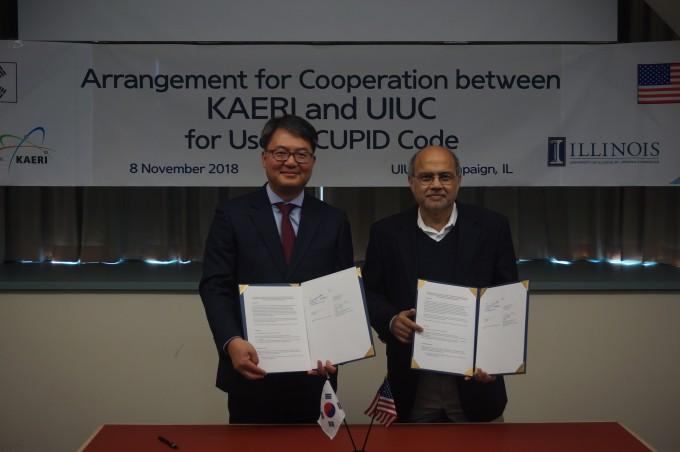 한국원자력연구원이 미국 일리노이대와 CUPID코드 사용권 협약을 체결했다. 한국원자력연구원 제공.
