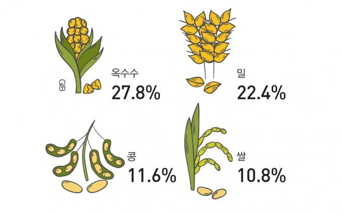 지금처럼 지구온난화가 계속될 때 주요 곡물의 예측 감소량. 자료: 미국과학원회보