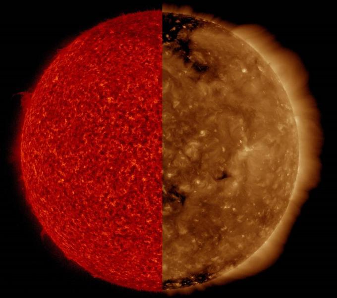 스테레오 위성이 파장을 달리해 촬영한 태양 표면의 모습이다.-미국 항공우주국 제공