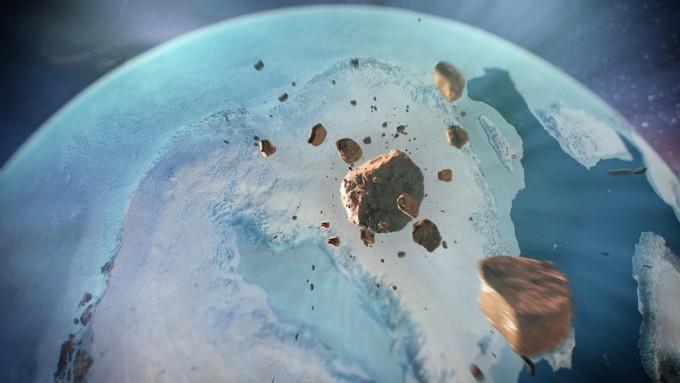 그린단드 빙하 내부에서 거대 운석충돌흔적이 발견됐다. 당시 충돌로 인한 기후변화 영향등은 추가 연구가 필요한 상황이다.-NASA 제공