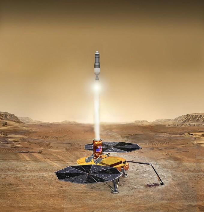 마스2020이 수집한 토양 시료를 향후 귀환하기 위해 제안된 임무. 로켓을 통해 시료를 화성 궤도선에 보낸 뒤 지구로 가져오는 안이 검토되고 있다. -사진 제공 NASA
