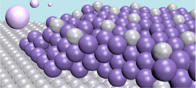 물 속에 떠있는 수은원자(밝은 보라색)는 백금 전극(회색)에 붙어 두꺼운 층을 형성한다.-스웨덴 찰머스대 제공