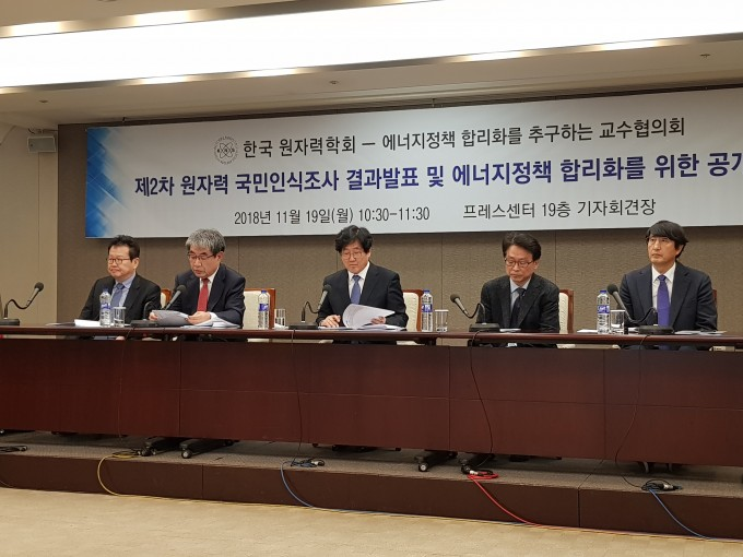 한국원자력학회와 '에너지정책 합리화를 추구하는 교수협의회′는 19일 서울 중구 프레스센터에서 기자회견을 열고 '제2차 2018 원자력발전에 대한 인식조사' 결과를 발표하며 정부에 합리적인 에너지 정책을 수립할 것을 촉구했다. 조사 결과에 따르면 국민 10명 중 7명은 원전에 찬성하는 것으로 나타났다. - 송경은 기자 kyungeun@donga.com