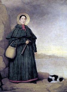 매리애닝(1799~1847)과 애완견의 모습을 그렸다. 영국의 화석 수집가이자 고생물학자이다. 잉글랜드 남부 도싯주의 라임 리지스에 있는 영국 해협을 마주한 절벽에서 중생대 쥐라기 해양 생물의 화석을 발견했다-위키백과 제공