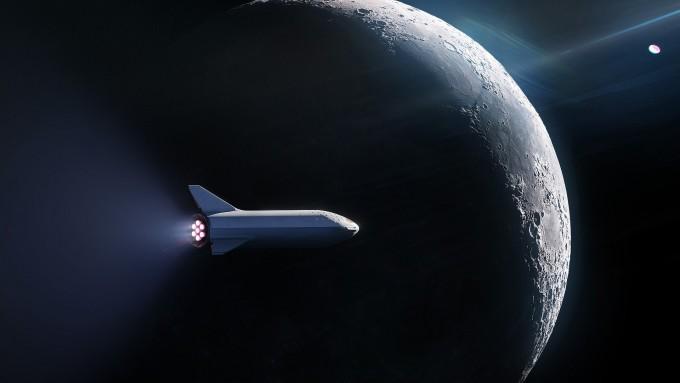 스페이스엑스가 개발 중인 대형 로켓 빅팰컨로켓(BFR)이 달을 지나고 있는 상상도다. BFR로 최초의 유인 화성 탐사가 이뤄질지 주목된다. -사진 제공 스페이스엑스