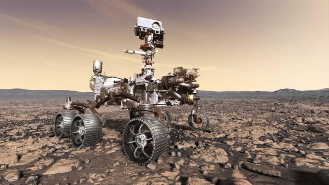 미국 항공우주국(NASA)가 준비중인 마스 2020 계획에 사용될 로버의 상상도다. 크기는 2012년에 화성에 도착한 큐리오시티(약 900㎏)와 비슷할 것으로 전망 중이다.-미국 항공우주국(NASA) 제공