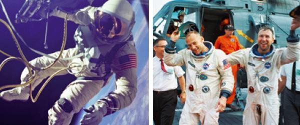 (왼쪽)1965년 6월 3일 미국 최초로 우주 유영을 한 에드워드 화이트. 그는 '제미니 4호' 주변에서 23분 동안 우주 공간에 머물렀다. (오른쪽) 1966년 11월 15일 제미니 계획의 마지막 우주선인 '제미니 12호'를 비행하고 귀환한 우주비행사 버즈 올드린(왼쪽)과 짐 로벨.